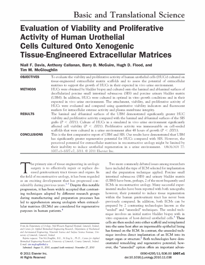 Evaluation of viability and proliferative activity of human