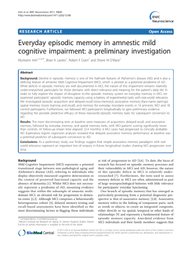 Everyday episodic memory in amnestic Mild Cognitive Impairment: a