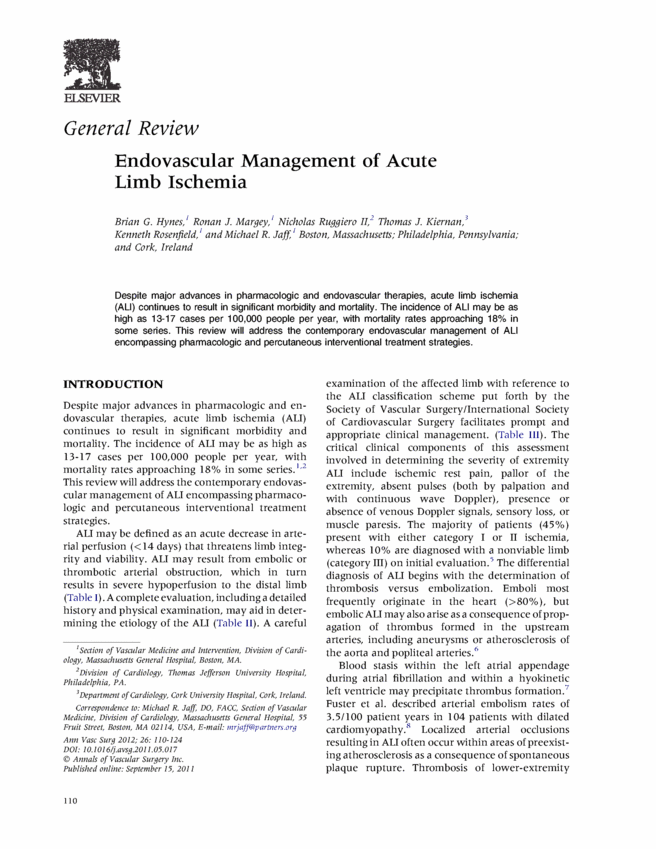 Endovascular Management of Acute Limb Ischemia