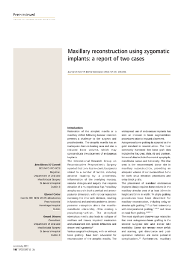 Maxillary Reconstruction Using Zygomatic Implants A Report Of Two Cases