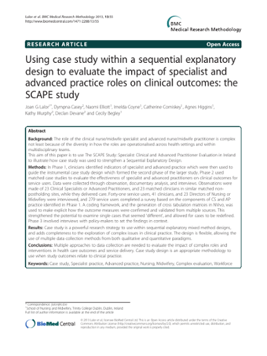 Using case study within a sequential explanatory design to evaluate