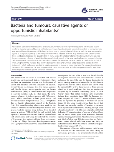 Bacteria and tumours: causative agents or opportunistic inhabitants?