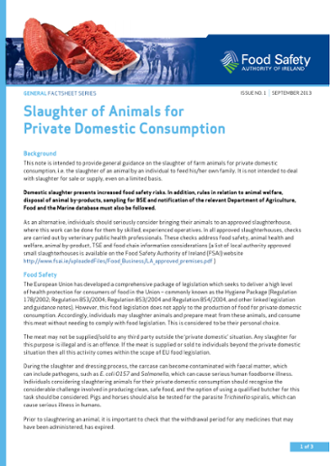 Slaughter of animals for private domestic consumption: factsheet