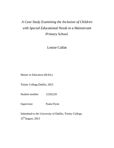 A Case Study Examining the Inclusion of Children with