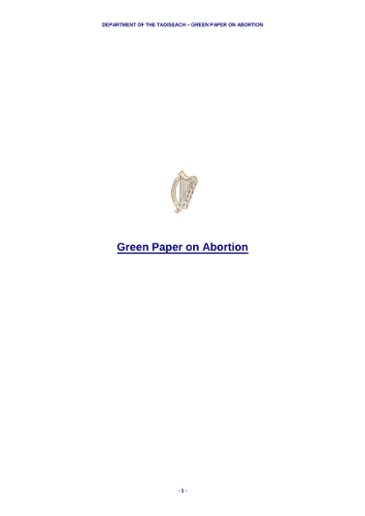 Green Paper on Abortion