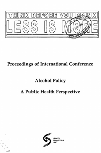 Proceedings Of International Conference Alcohol Policy A Public