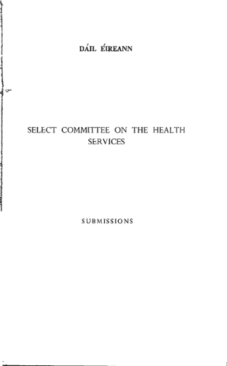 SELECT COMMITTEE ON THE HEALTH SERVICES