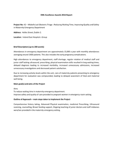 Project No: 42 – Midwife Led Obstetric Triage : Reducing