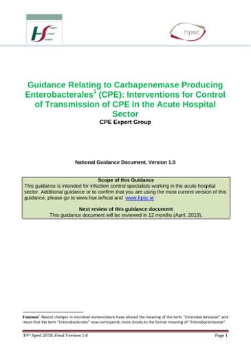 Guidance Relating to Carbapenemase Producing
