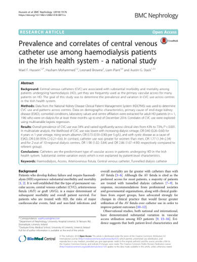 Prevalence and correlates of central venous catheter use