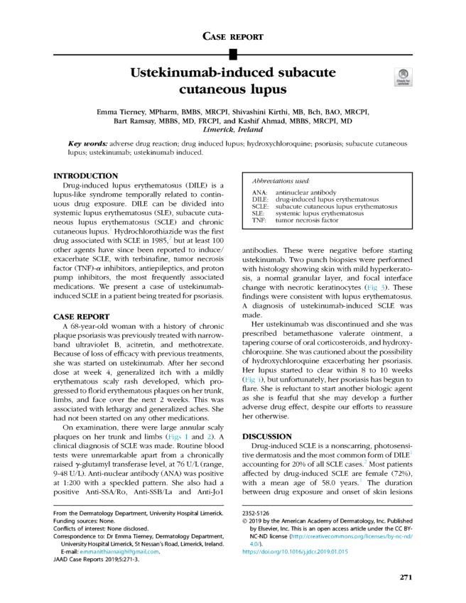 Ustekinumab-induced subacute cutaneous lupus