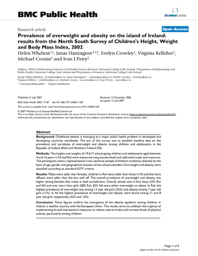 Prevalence of overweight and obesity on the island of