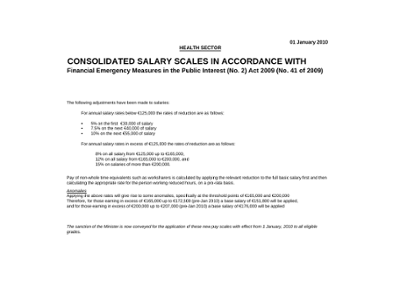 Department of Health and Children consolidated salary scales